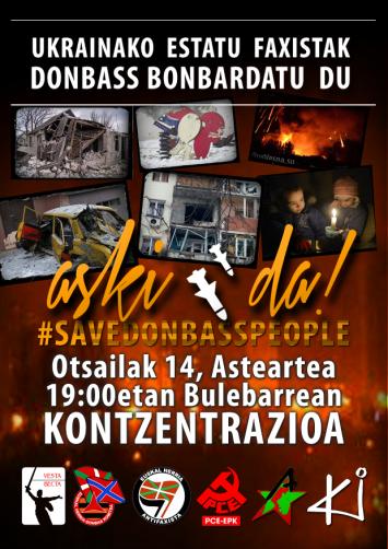 14 de febrero, a las 19:00, concentración en favor del Donbass en Donostia